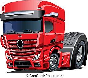 半, 隔離された, トラック, 背景, 白, 漫画