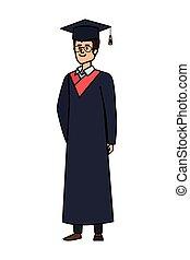 卒業した, ガラス, 若い, 学生, 人