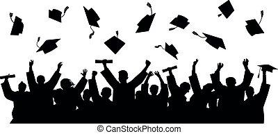 卒業した, 投球, 大学, caps., シルエット, 卒業生, ベクトル, 人々, の上, 学者, 朗らかである, ふた, college., 群集, 広場