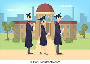 卒業する, 生徒, university.