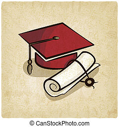 卒業式帽子, そして, 卒業証書, 古い, 背景