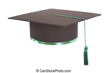 卒業式帽子, 隔離された, 白, 背景