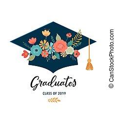 卒業生, ベクトル, バックグラウンド。, クラス, 2019., 旗, デザイン, 帽子, 白, イラスト, 花