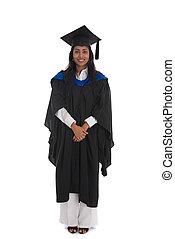 卒業生, 体, 背景, 隔離された, 女性, siolated, indian, フルである, 白