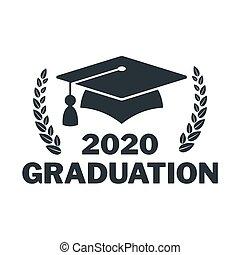 卒業生, 大学, mortarboard., logo., 帽子