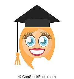 卒業生, 女性, emoticon