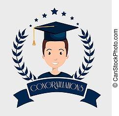 卒業, カード, 隔離された, アイコン