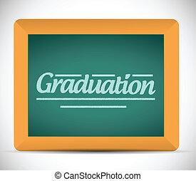 卒業, メッセージ, 書かれた, 上に, a, 黒板