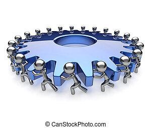 協力, ビジネス男性たち, 共同体, チームワーク, 活動, アイコン