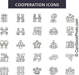協力, ミーティング, illustration:, チームワーク, セット, 協力, 人々, アウトライン, 概念, チーム, 協力, vector., 成功, 線, ビジネス, サイン, アイコン