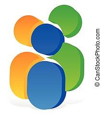協力, 会社, カラフルである, 社会, -, 3, pictograms, 人間, 概念, アイコン, 3d