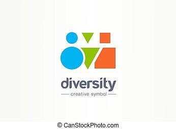 協力, 別, 多様性, multiethnic, ビジネス 人々, シンボル, 共同体, 創造的, idea., 形, ロゴ, concept., 友人, 抽象的, アイコン