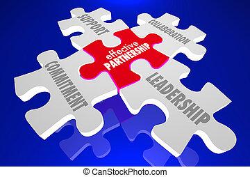 協力, 効果的である, 小片, 困惑, リーダーシップ, イラスト, 協力, 3d