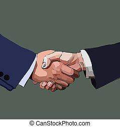 協力, 握手, illustration., ビジネス 人々, ベクトル