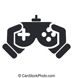 单一, 描述, 隔离, 游戏, 矢量, 视频, 图标
