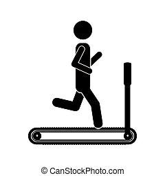 单色, 人, 侧面影象, treadmill