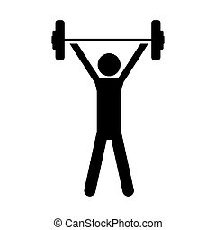 单色, 侧面影象, weightlifting, 人