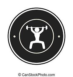 单色, 框架, 人, weightlifting, 圆