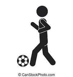 单色, 足球, 侧面影象, 人
