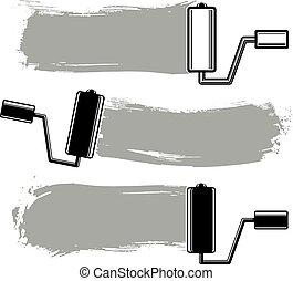 单色, grunge, brushstrokes, 丙烯酸, 样品, 建立, 带, 涂描, roller., 墙壁, 绘画, 矢量, 概念性, illustration.