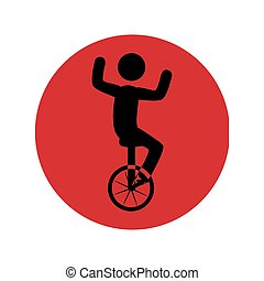 单轮脚踏车, 人, 侧面影象, 圆