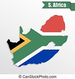 南アフリカ, 地図, ∥で∥, 旗, 中, そして, リボン