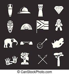 南アフリカ, 旅行 アイコン, セット, 灰色, ベクトル