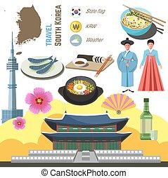 南朝鮮, 文化, シンボル, set., 旅行, ソウル, 方向, concept.