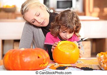南瓜, 厨房, 女儿, 准备, 妈妈