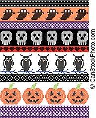 南瓜, 頭骨, 縫線, 裝飾品, 假期, 圖案, 斯堪的納維亞人, 心, 黃色, seamless, 貓頭鷹, 傳統, 黑色, 紫色, 產生雜種, 万圣節, 裝飾, 美國人, 橙, 鼓勵
