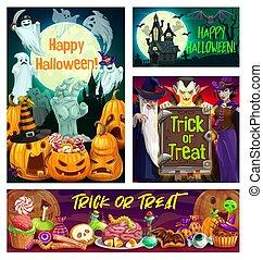 南瓜, 鬼, 吸血鬼, 巫術師, halloween 巫婆