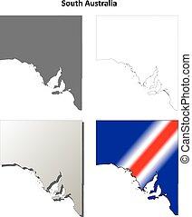 南, アウトライン, セット, オーストラリア, 地図