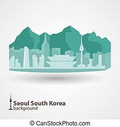 南, ソウル, 韓国, スカイライン, イラスト