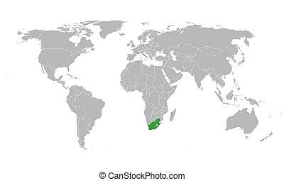 南, ハイライトした, 地図, 色, 緑, 世界, ベクトル, アフリカ