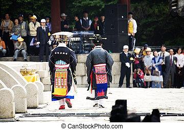 南, 伝統的である, 祝祭, 韓国, jongmyojerye, 儀式, jongmyo