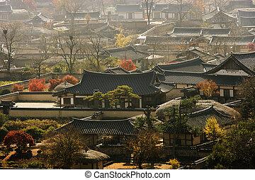 南, 伝統的である, 韓国, hahoe, 村