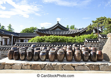 南, 伝統的である, 韓国, hanok, 村