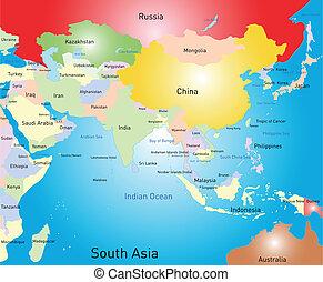 南 asia, 地図