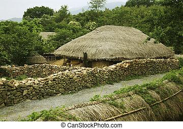 南, thatched, 伝統的である, 韓国, chogajip, naganeupseong, コテッジ, 村