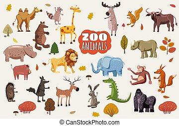南, vectors., セット, 動物, species., 大きい, 草食性, 隔離された, アメリカ人, アフリカ, 捕食者, オーストラリア人, 野生, 北, 動物群, アジア人, 漫画, スタイル