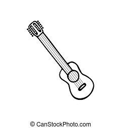 単一, シンボル, icon., ウクレレ, ベクトル, ミュージカル, instrument., hand-drawn