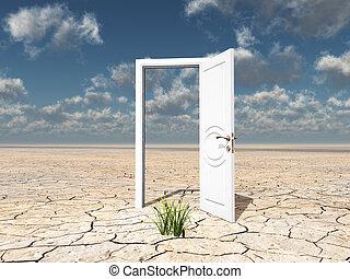 単一, ドア, 白