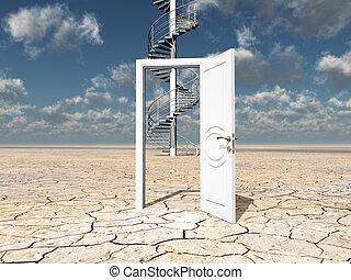 単一, ドア, 砂漠