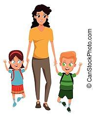 単一, 子供, 2, 家族, 母