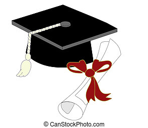 単一, 帽子, 卒業証書, 卒業