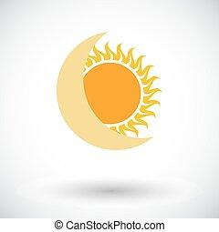 単一, 食, icon., 太陽