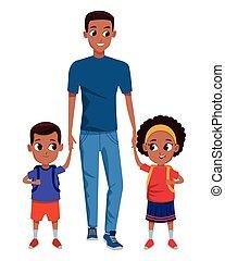 単一, childrens, 親, 家族, 漫画