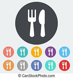 単一, cutlery, icon.
