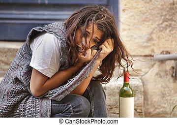 単独で, 女の子, 酔った