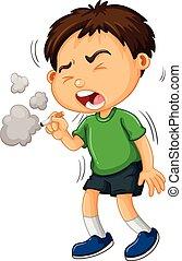 単独で, 男の子, 煙が出ているタバコ